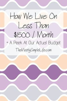 How We Live On Less Than $1500 A Month + A Peek At Our Budget - The (mostly) Simple Life