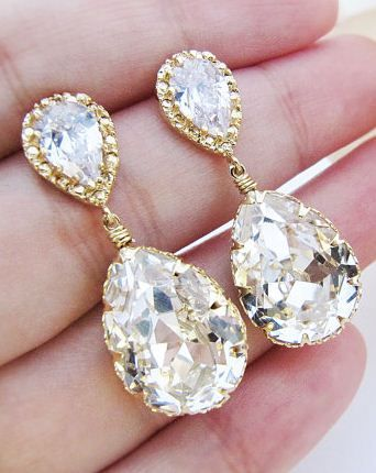 White and Gold Wedding Teardrop, Pear Crystal Rhinestone Earrings. Bridal Earrings. Sparkly!