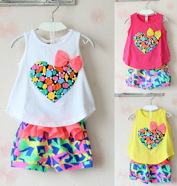 los niños shorts de flores las niñas conjuntos de niñas casual chaleco camiseta de bebé de niña de las flores cortos de corazón amor a la camiseta de los pantalones cortos de niñas de dos piezas, conjuntos de verano