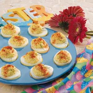 "Horseradish Deviled Eggs ~ ""People say, 'Wow!' when they taste these flavorful tangy deviled eggs,"" confirms Ruth Roth of Linville, North Carolina. ""The bold combination of ground mustard, dill and horseradish is so appealing...the plate is always emptied whenever I serve these eggs."""