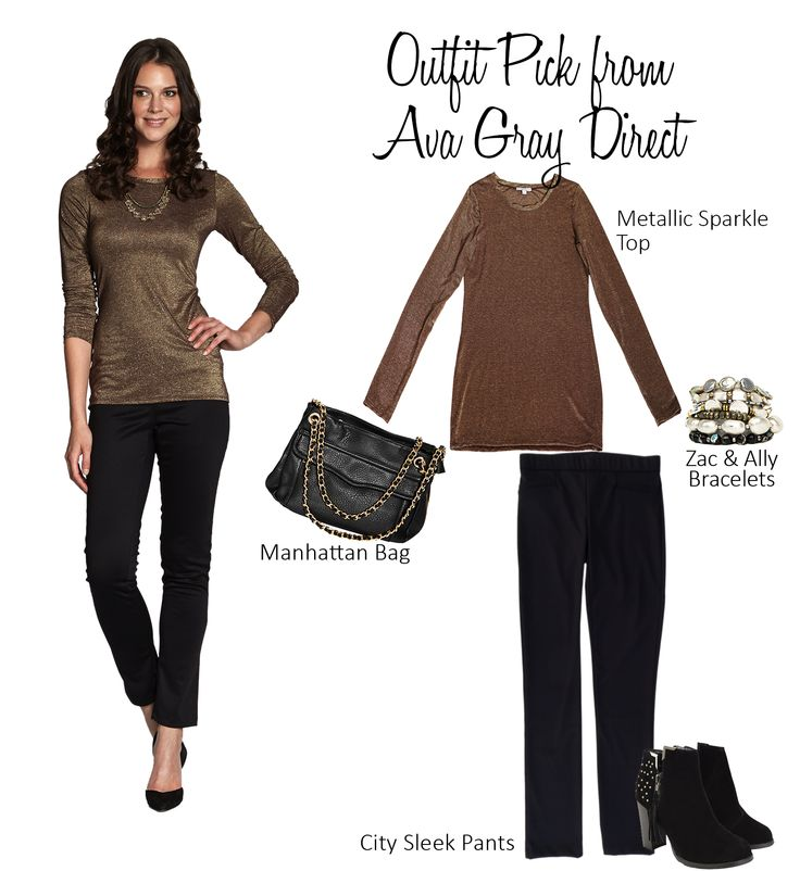 Need help deciding what to wear? Try our Sparkle Top with our City Sleek Pants!  #AvaGrayDirect #FashionTips #StyleGuide #ootd