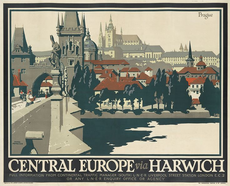 FRANK NEWBOULD (1887-1950) PRAGUE / CENTRAL EUROPE VIA HARWICH. Circa 1925. 40x49 1/2 inches, 101 1/2x126 1/2 cm. Dangerfield Printing Co.,