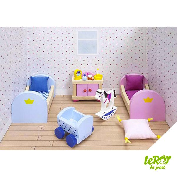 Mobilier pour maison de poupées en bois ou Playmobil Chambre des enfants en bois pour château Leroy du jouet