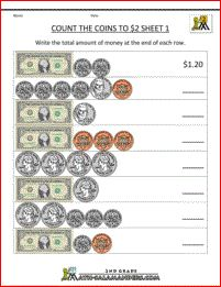 Worksheets 3rd Grade Money Worksheets 17 best images about money worksheets on pinterest coins counting to 2 sheet 1