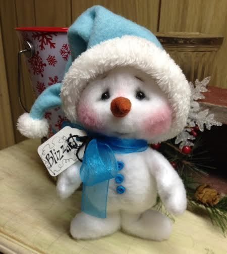 Primitive Raggedy Christmas Snowman Doll Winter Snow Shelf Sitter 7in. Turq/blue #Unbranded #Christmas