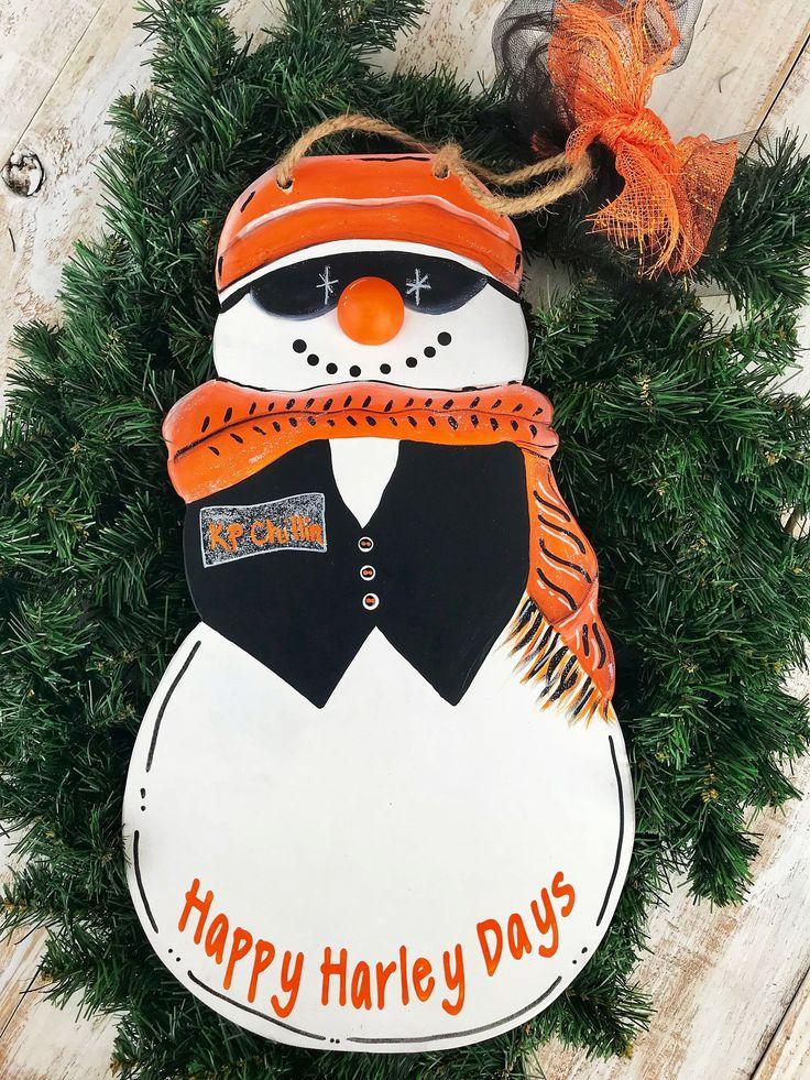 Harley Snowman Door Hanger | Vacation Decor | Snowman | Bike Snowman | Harley Davidson Impressed |Door Hanger