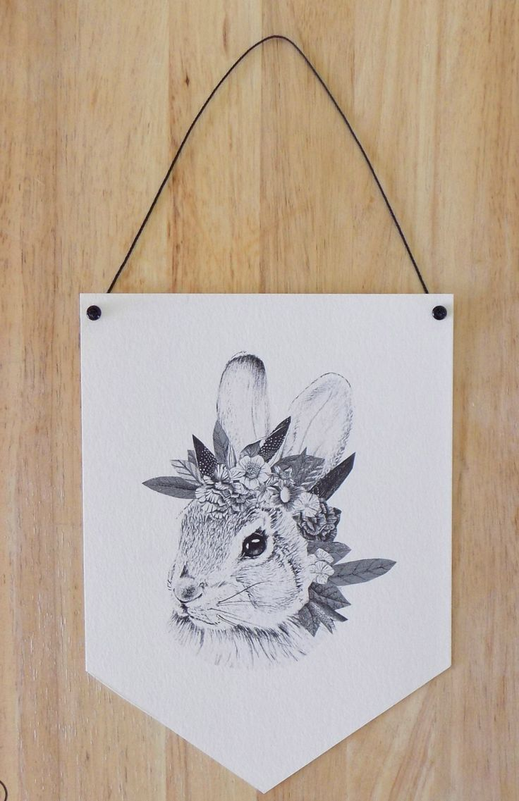 RABBIT WITH FLOWERS NO.1 PAPER BANNER | Felt
