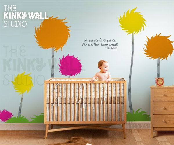 Children wall decals wall sticker lorax truffula trees for Dr seuss wall mural decals