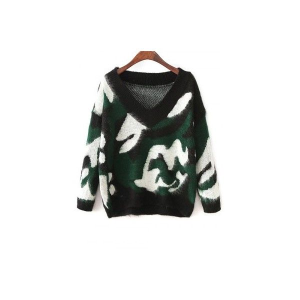 Jacquard Camoflage Mohair Jumper ($30) ❤ liked on Polyvore featuring tops, sweaters, camouflage sweaters, camouflage jumper, mohair jumper, camouflage top and camo top
