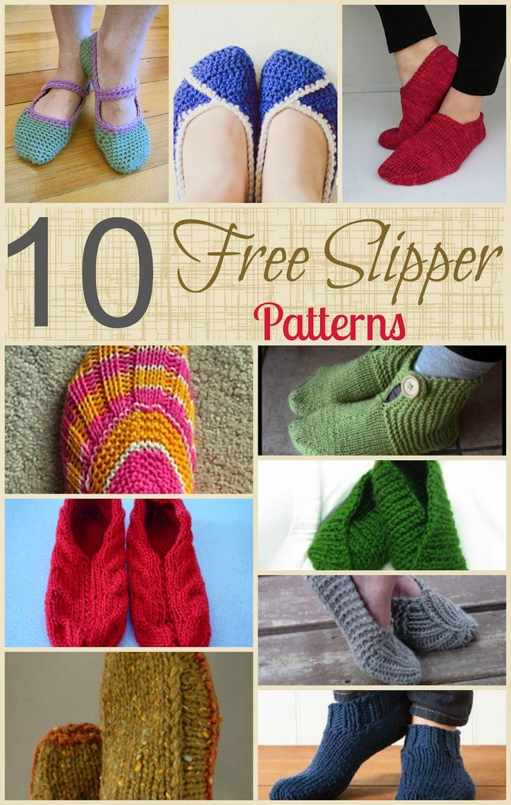 10 free knitting patterns to make yourself a pair of slippers. Quick and easy gift idea!