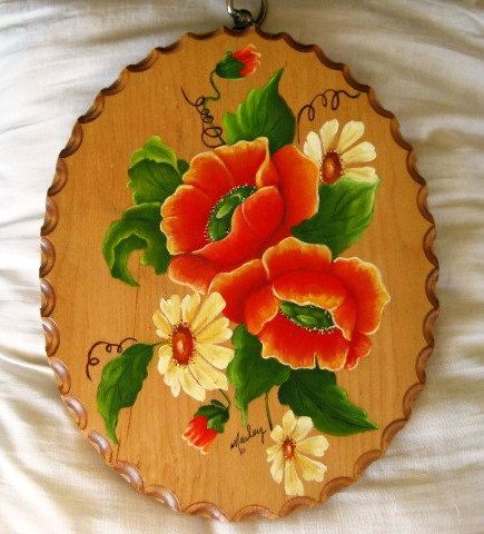 Dual Sided Signed Tole Painting Wall Art  Lady with by ChinaGalore, $18.00