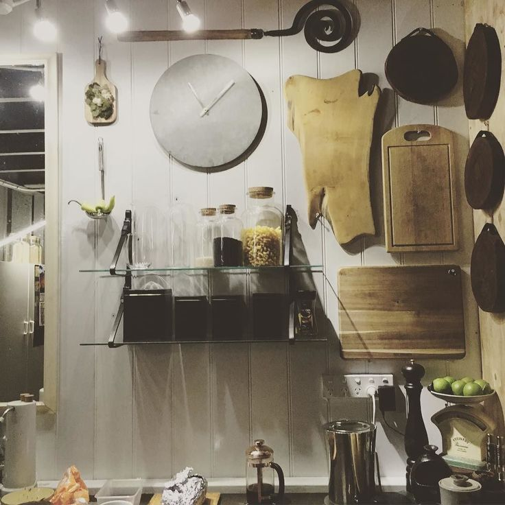 So happy to have this kitchen finally organised. I used leather horse strapping and recycled glass panels to create shelves huge (roadside trash) recycled mirror above sink opens up the space. I love having all my chopping boards on display they have all come from wonderful people .... my own timber timber timeline. #kitchen #choppingboard #recycledtimber #upcycle #euphorbiabotanical #countryliving
