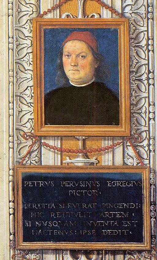 """Pietro Perugino autorretrato  1497-1500 - afresco Collegio del Cambio, Perugia   Perugino se imortalizou no Collegio del Cambio com um auto-retrato imponente. A inscrição abaixo identifica-o como """"PETRVS PERVSINVS EGREGIVS PICTOR. O epigrama Latino que segue lê: Quando a arte da cor tinha sido perdida, ele a redescobriu com paciente determinação, e quando ninguém estava lhe dando vida, ele foi o primeiro a criar arte que era bela.   O verso foi sem dúvida composto por Maturanzio. A sua…"""