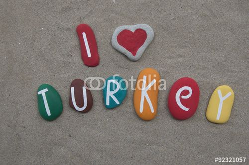 """Download the royalty-free photo """"I love Turkey, colored stones composition """" created by Ciaobucarest at the lowest price on Fotolia.com. Browse our cheap image bank online to find the perfect stock photo for your marketing projects!"""