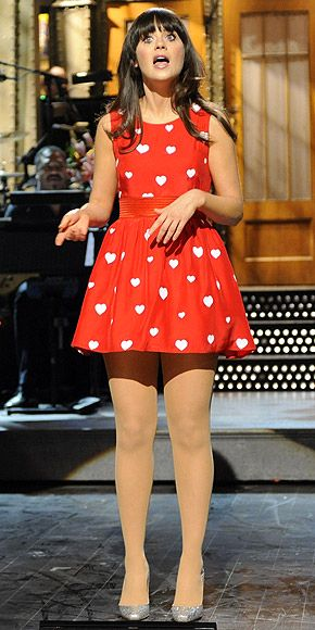 WHIMSICAL PRINTS  Leave it to the adorkable Zooey Deschanel to find the sweetest dress around: The heart-print Rachel Antonoff mini she wore on Saturday Night Live is one of many cutesy patterns you'll see this season (think birds, sailboats and even cats!).