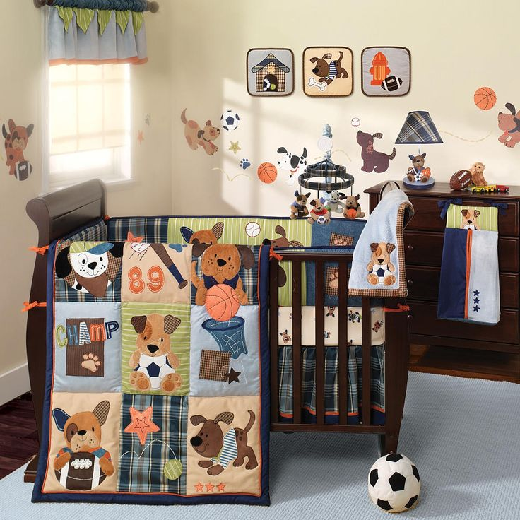 lambs ivy bow wow 9 piece bedding set babies r us boys and crib sets. Black Bedroom Furniture Sets. Home Design Ideas