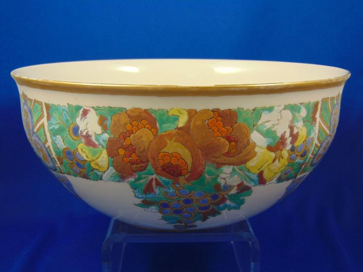 Lenox Belleek Arts & Crafts Enameled Fruit Motif Centerpiece Bowl (c.1906-1924)