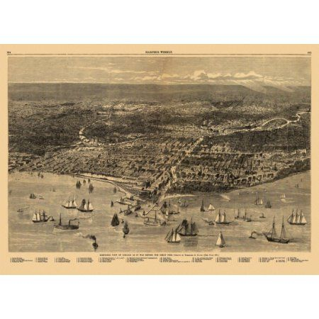 Antique Map of Chicago Illinois 1871 Cook County Canvas Art - (24 x 36)