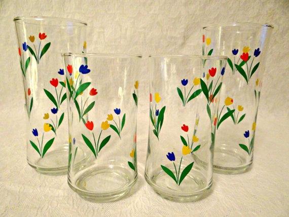 Vintage Libbey Tulip Glasses Tulip Glasses by TimelessTreasuresbyM