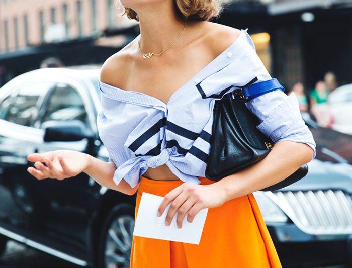 Blue button up + bright orange skirt