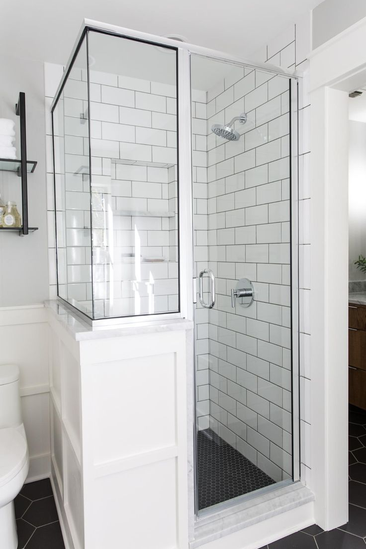 The original shower insert was dated and took up too much space, so our friends at Anderson glass installed both this custom shower and the mirrors above both vanities. I love the way they turned out! Depending on budgets, there are lots of options for shower glass. The first kind is seamless (no trim) which, in many cases, is the most expensive. To stay within budget we chose a chrome trim to tie into the light fixtures. You can also choose black or oil rubbed bronze trim. By adding the…