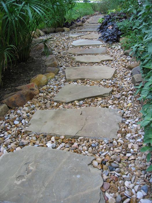 22 best images about pea gravel flagstone gardens on for Stone stepping stones for garden paths