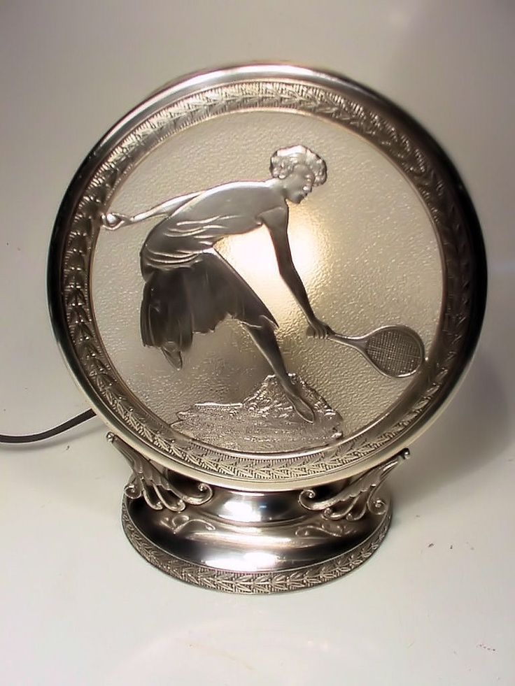 RARE Art Deco Figural Sports Lady Tennis Player Silverplate Lamp No Reserve