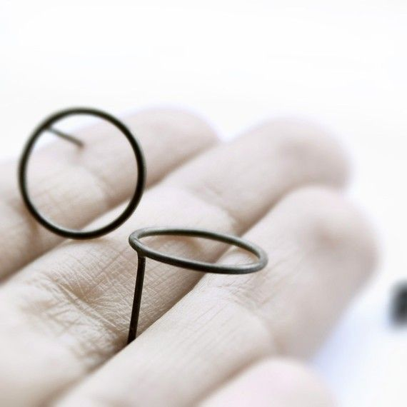 Circles  oxidized sterling silver post http://www.etsy.com/listing/70886524/circles-oxidized-sterling-silver-post