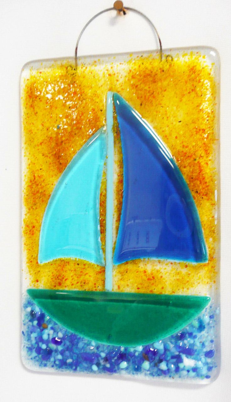 Row of beach huts curved fused glass table clock - Fused Glass Wall Tile Sailboat Www Coppermstudio Com