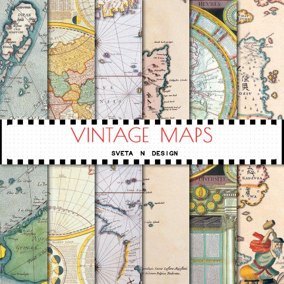 Vintage maps digital paper - antique maps of europe, america and the world for invitations, cardmaking, scrapbooking - set #1