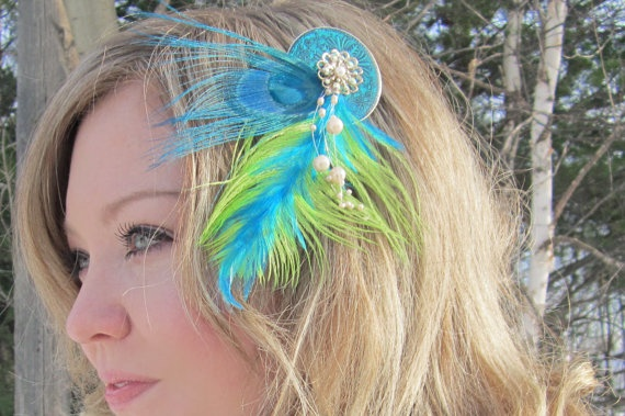 bloomer  Lime Green and Teal Feathered Fan by SHOWYOURbloomers, $40.00