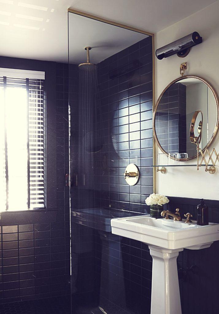 black&white&gold bathroom