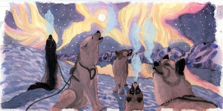 "Illustration from the childrens book ""Slædehundenes Suk"" about a greenlandic sled dog puppy, seeking an answer to why we sigh. This motive is available as A3-photoprint 400 DKK / 54 Euro Plus shipping. Watercolour by Naja Abelsen. Turbine Publishing 2009."