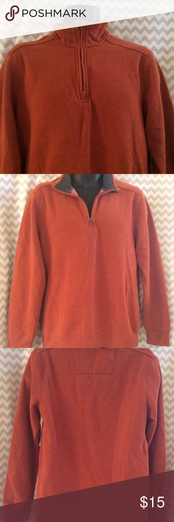 😎SALE😎Arrow Mens Pullover Sweater Like New!! Arrow brand men's pullover collared sweater with a half zip front in a burnt orange color. Has no pockets. Size Small. In very gently used condition, with no stains or rips and very little wear.  Measurements-  Chest: 20 in.  Length: 28.5 in.  Shoulders: 17 in.  Sleeve: 24.75 in. Arrow Sweaters Zip Up
