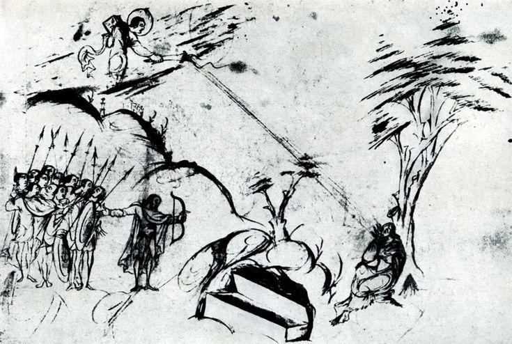 173.  Лучи от господнего   факела   падают   на лицо псалмопевца. Миниатюра Утрехтской псалтыри. Из Реймса; около 820 г. Утрехт, Библиотека университета.