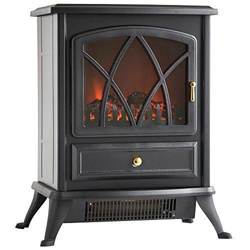 VonHaus 1500W Electric Stove Heater - Portable Home Fireplace with Log Burning Flame Effect (16.8W x 10.8L x 20H inches - Black)