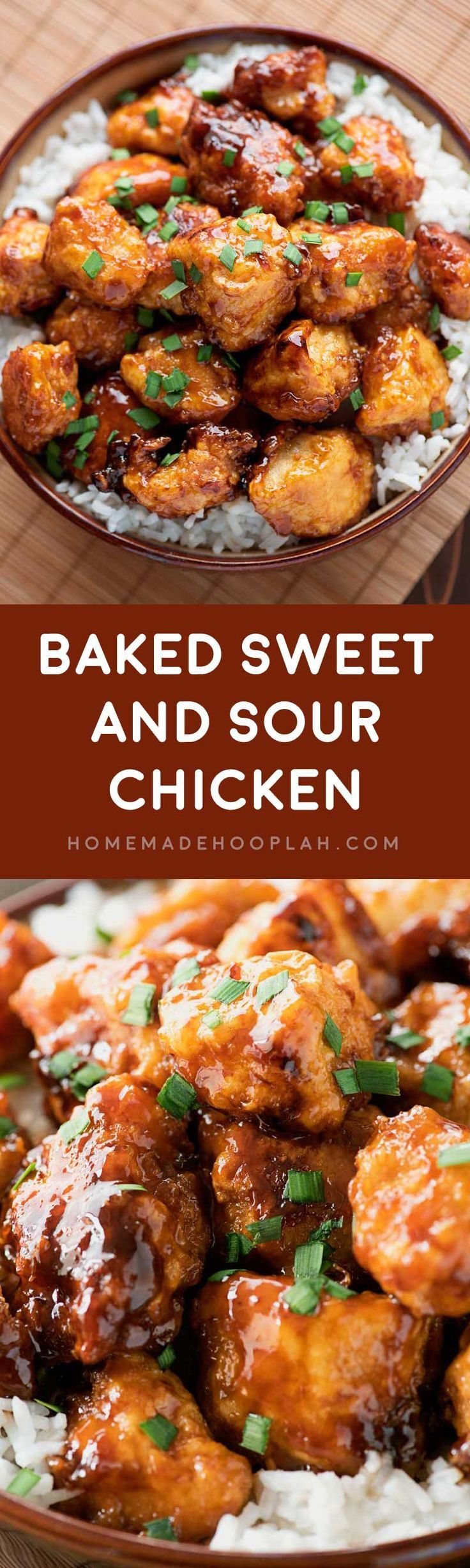 Baked Sweet and Sour Chicken! Skip the takeout and have a Chinese favorite at home: a delicious sweet and sour sauce poured over tender chicken with a crispy breading.