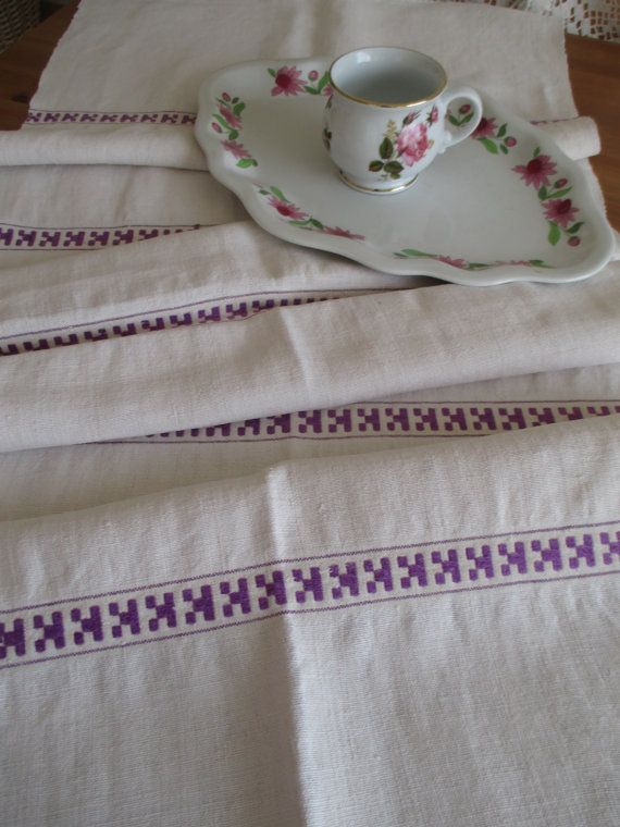 ON SALE 160. Vintage hand embroided pure linen table runner