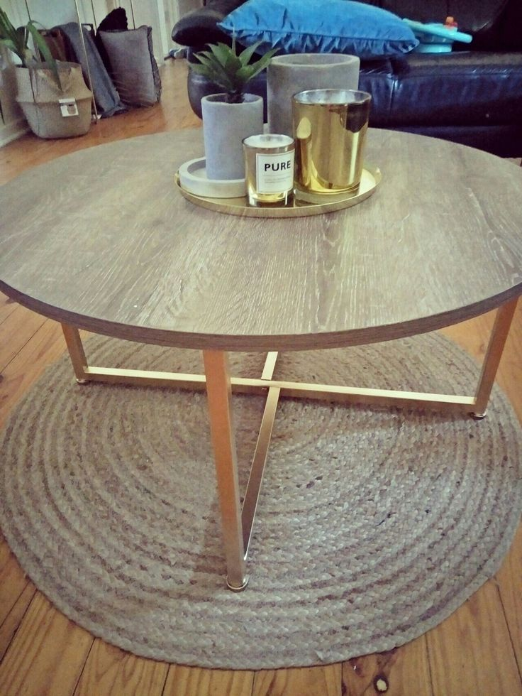 Kmart hack industrial coffee table sprayed gold from black xx
