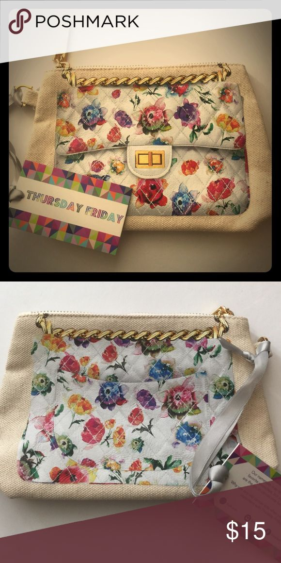 """Thursday Friday Clutch This easy hand-held clutch combines function and style. It's a mini rendition of the """"Away"""" and can be used as a grab-and-go cosmetics case or wallet. It's structured and petite. Dimensions: 5.75""""H x 7""""W with metal zipper closure. 100% Cotton Canvas and 100% Nylon lining. NWOT! thursday friday Bags Clutches & Wristlets"""