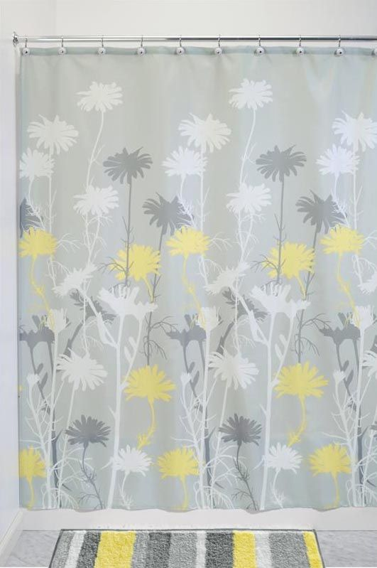 Daizy Graphic Gray and Yellow Fabric Shower Curtain by Interdesign