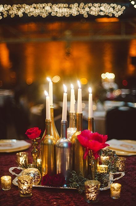 painted wine bottles candle centerpiece   Photo by Dixie Pixel