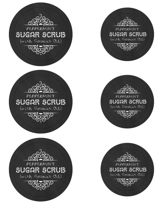 Peppermint Sugar Scrub In Mason Jars - Free Printable Chalkboard Label