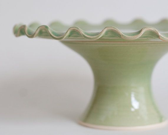 SALE  Small Cake Stand  7 inch  Green Ruffle by vesselsandwares, $44.00