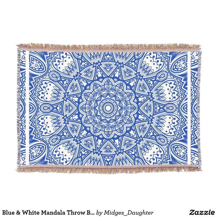 Blue & White Mandala Throw Blanket