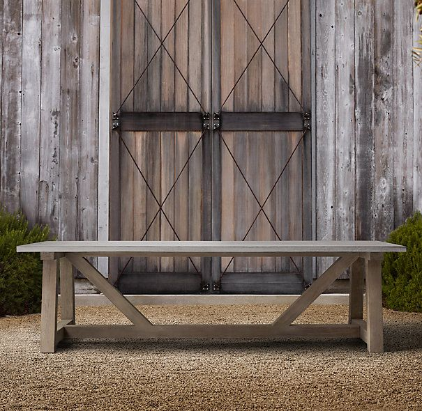 French Beam Weathered Concrete U0026 Teak Rectangular Dining Table. Outdoor ...