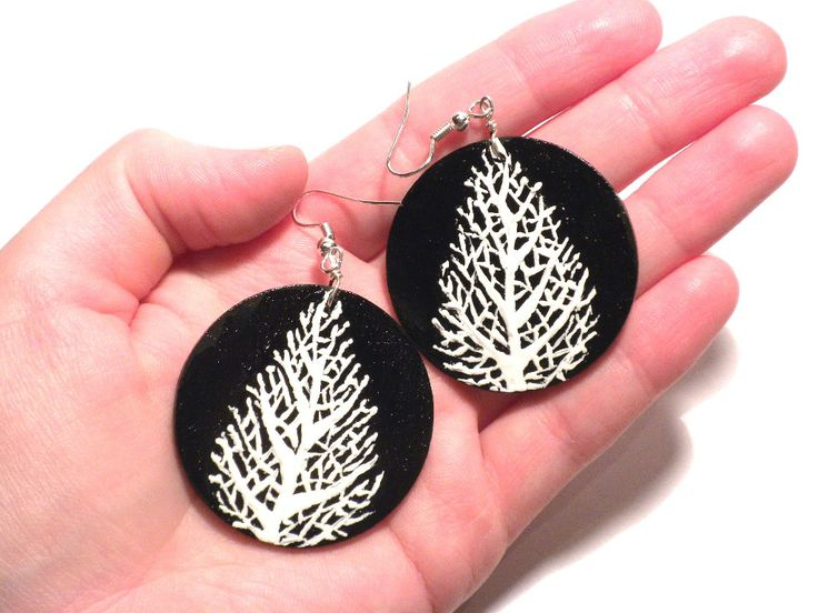 #black #white #leaf #frosted, #handmade, #earrings #jewelry