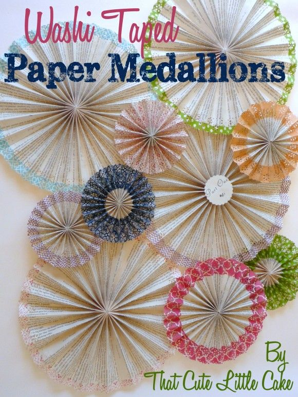 Washi tape paper medallion backdrop DIY! See more crafts and party ideas at CatchMyParty.com. #washitape