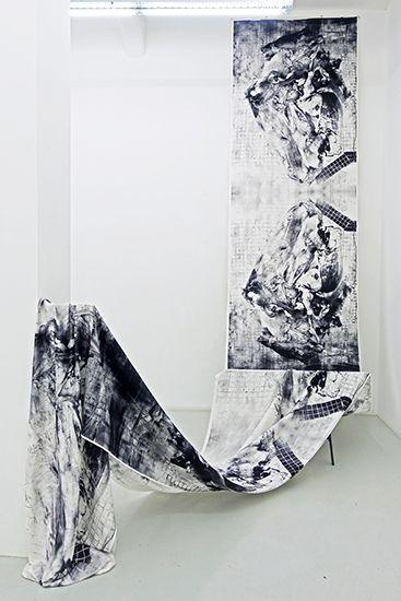 Patricia Perez Eustaquio, Untitled (Carcass), 2016, unique edition, digital print on silk dupion, printed in England, 136 x 1000 cm