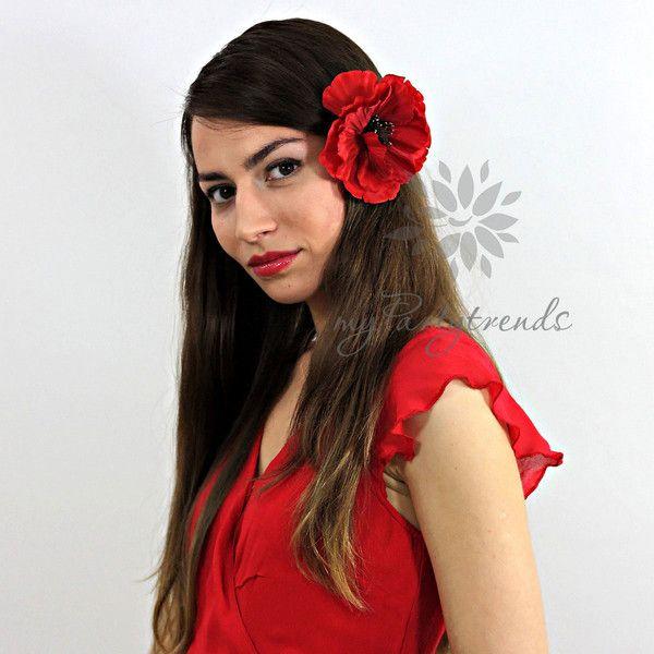 Haarblüten - rote Ansteckblume 'Mohnblüte' (Ø 11 cm; Höhe 4 cm) - ein Designerstück von myPartytrends bei DaWanda